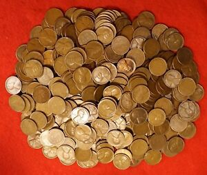 1909-1958 Lincoln wheat cent penny roll circulated mixed dates and mints