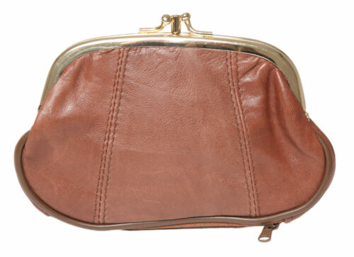 LADIES SOFT NAPPA LEATHER LARGE TRIPLE FRAME TOP CLIP COIN PURSE WITH BOTTOM ZIP