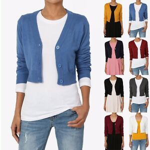 Details about TheMogan Women's 34 Sleeve Button Up V Neck Cropped Knit Sweater Cardigan