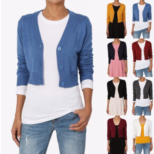 TheMogan Women/'s 3//4 Sleeve Button Up V-Neck Cropped Knit Sweater Cardigan