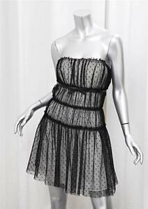 DOLCE-amp-GABBANA-Womens-Black-White-Sheer-Polka-Dot-Sleeveless-Dress-46-10-NEW