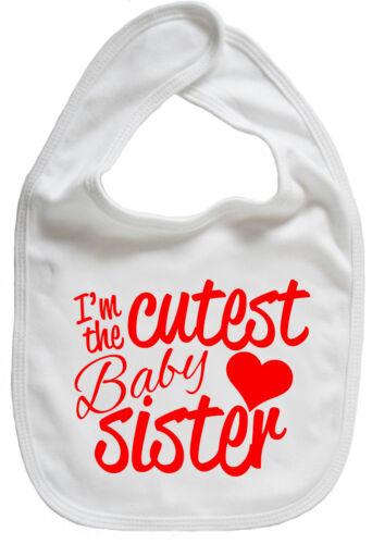 "Little Sister Bib /""I/'m the Cutest Baby Sister/"" Newborn Gift"