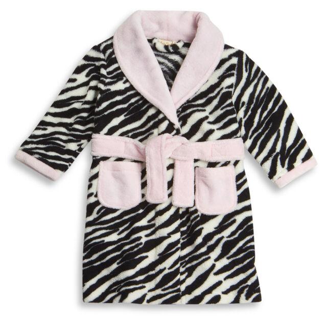 Babytown Baby Girl Animal Print Fleece Dressing Gown Bath Robe Belt ...