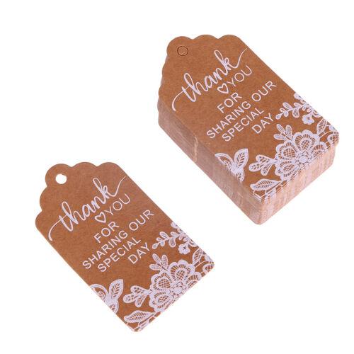 50Pcs Christmas Kraft Paper Gift Hanging Tags Luggage Label Xmas Tree Decor+Rope