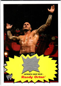 WWE-Randy-Orton-2012-Topps-Heritage-Authentic-Event-Worn-Shirt-Relic-Card-Tan