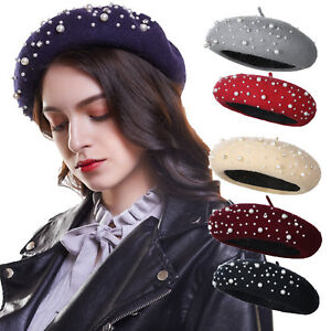 Fashion Ladies Winter Beret Hat Warm Pearl Hats Beanie Woolen Autumn ... 1deaea047eb7