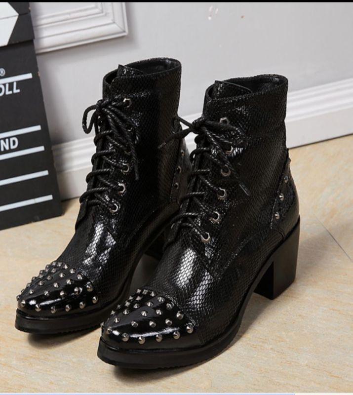 Para hombres Cuero Genuino Tachuelas Cowbay con Cordones de botas al Tobillo Zapatos Formales En Punta