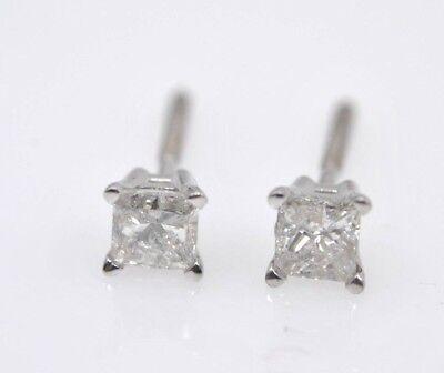 14 Kt White Gold Princess Cut Diamond Earring Studs Backs Great Gift Ebay