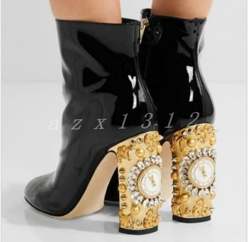Chic Donna patent leather matte ankle boots clock clock boots design decor rhinestones shoe d93dda