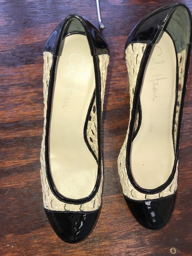 COLE HAAN PATENT LEATHER SZ WOVEN PUMPS WOOD HEELS SZ LEATHER 7B 249fa7