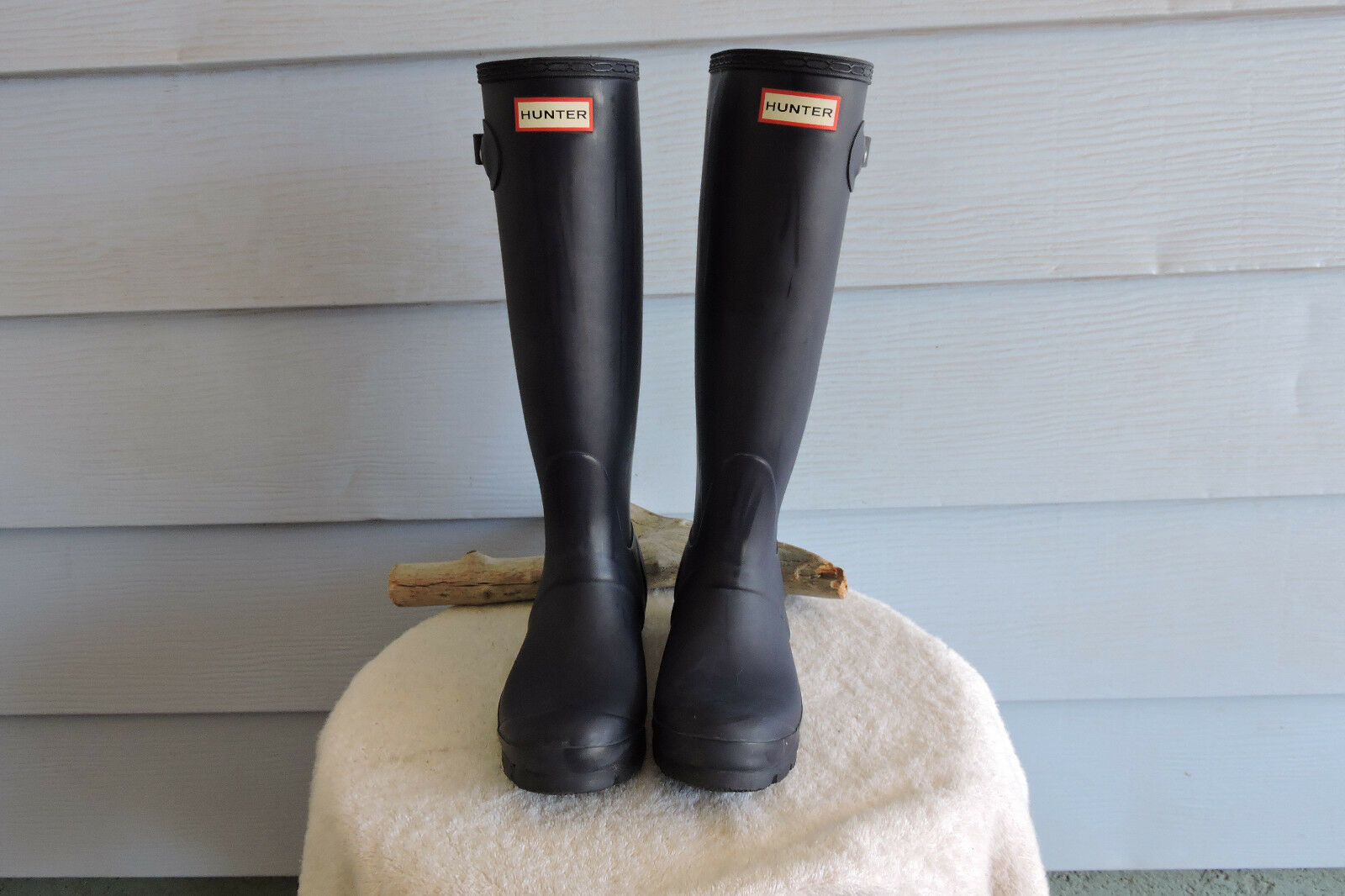 Hunter Original Tall Two Tone Rain Boots Navy/Aqua Blue Size 6