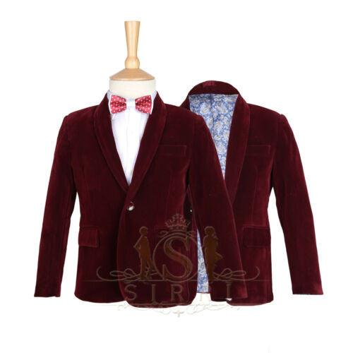 Boys Burgundy Red Velvet Jacket Kids Blazer Boy Formal Wear Jacket Set