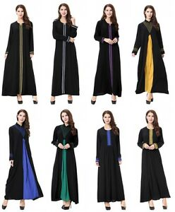 02a1c0a8770 Image is loading Kaftan-Abaya-Islamic-Muslim-Cocktail-Womens-Long-Sleeve-