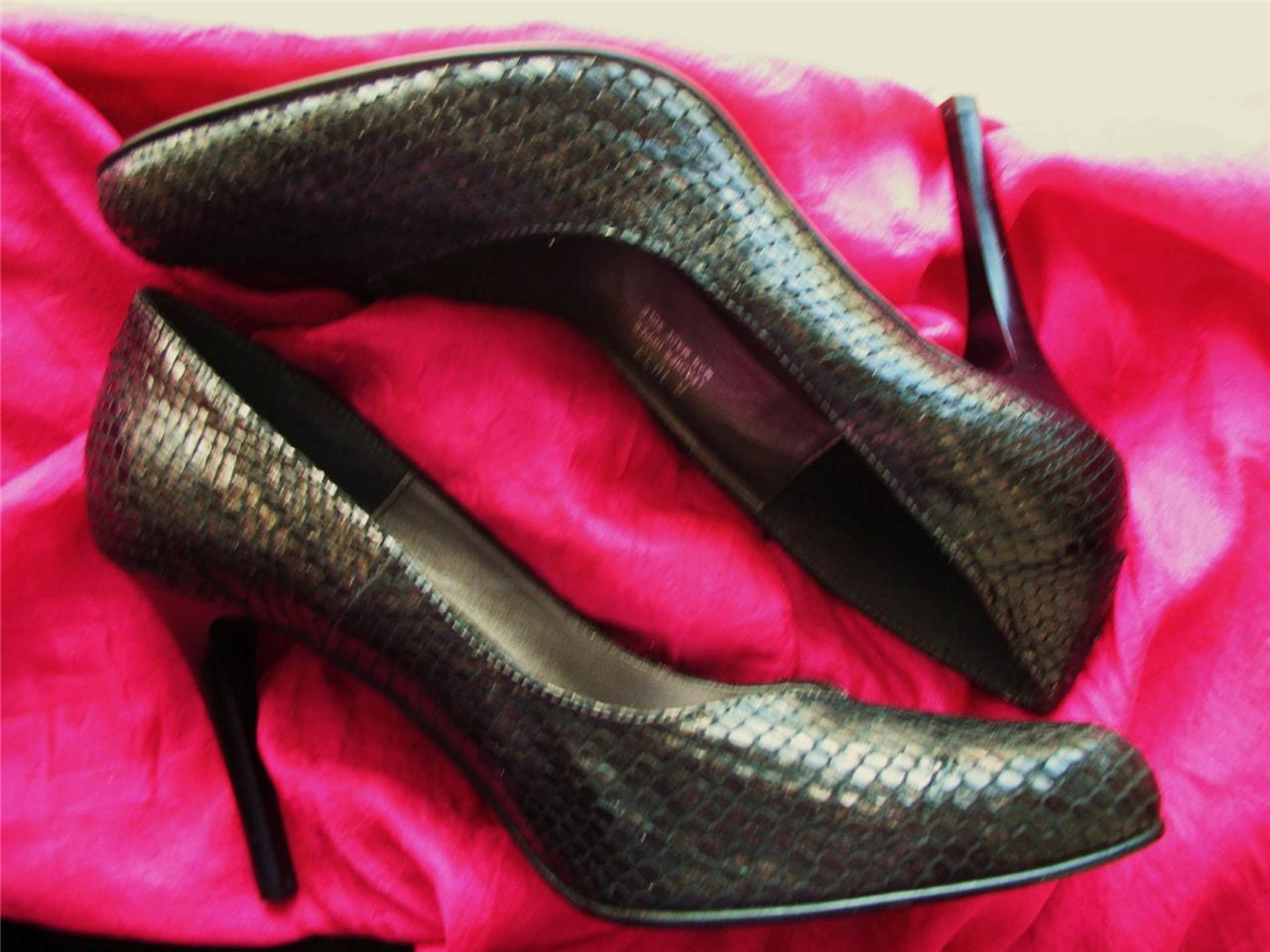 CARISMA  Schuhe  BLACK LEATHER SNAKE STILETTOS PUMPS   S 7.5M/38  MADE IN ITALY