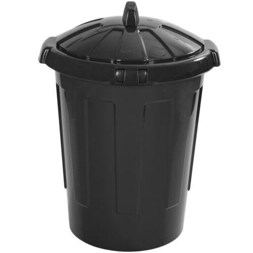 Large 80L 80 Litre Kitchen Home Rubbish Plastic Bin Storage Dustbin Colour BLACK