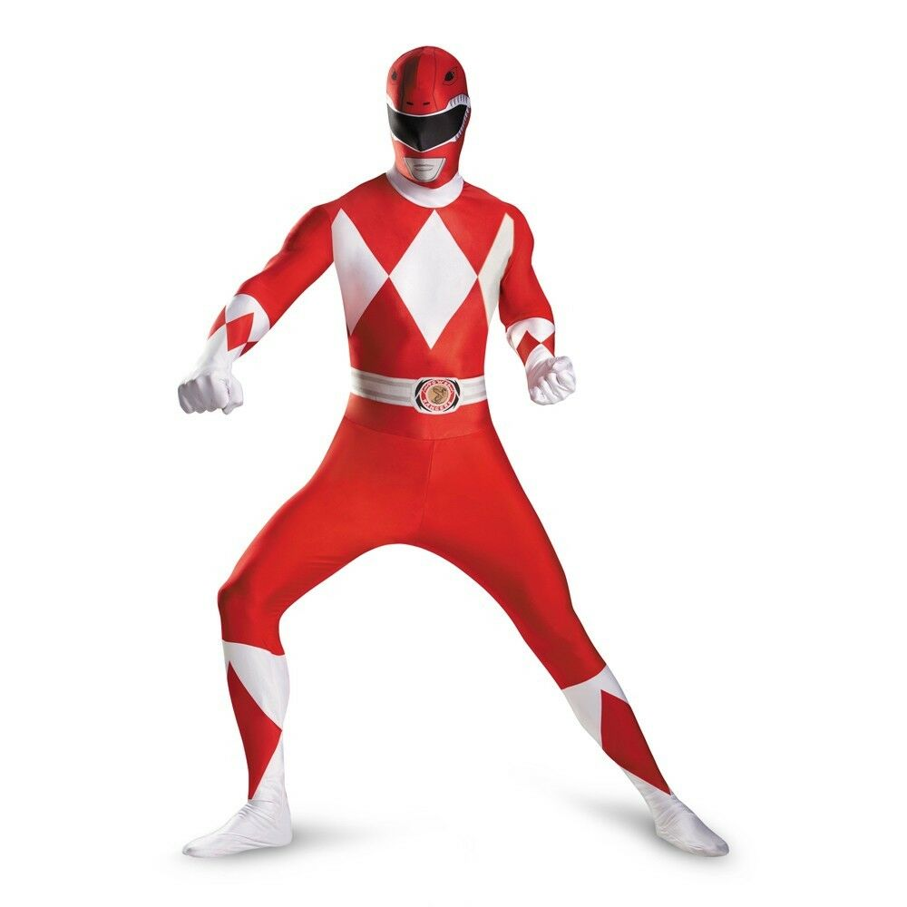 Mighty Morphin Power Rangers Red Ranger Adult TV Show Deluxe Bodysuit Costume