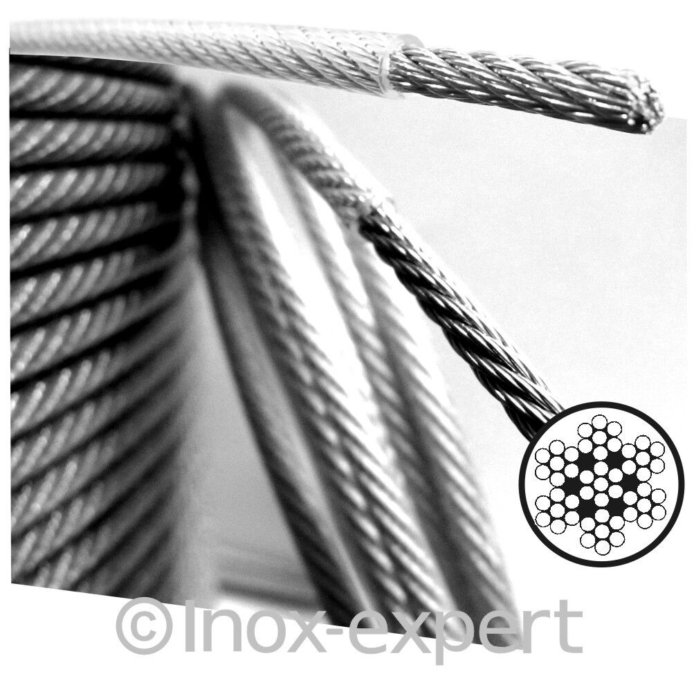 3   4 mm Drahtseil Edelstahl A4 See-Reling Nirosta PVC-Ummantelt Relingseil Niro