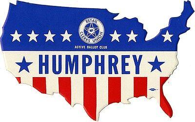 1968 Campaign Hubert HUMPHREY Union Bumper Sticker (2718)