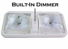 RV LED 12v CEILING FIXTURE DOUBLE DOME LIGHT CAMPER TRAILER RV MARINE W/ Dimmer