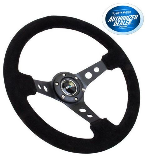 NRG Deep Dish Steering Wheel 350mm Black Suede Black Center RST-006S