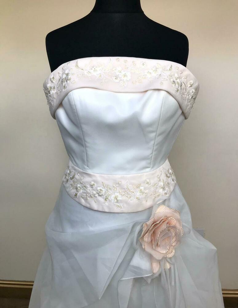 Actif Designer Nuptiale Robe De Mariée Robe Blanc Taille 12 Par Vénus Officiel 2019