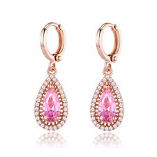 Antique Womens White Gold Filled Pink Sapphire Crystal Dangle Earrings Jewelry