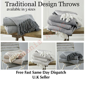 Large-amp-XL-Cotton-Traditional-Como-Safi-Blanket-Home-Chair-Sofa-Bed-Throws