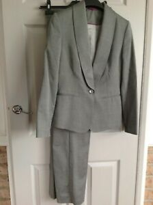 Austin Reed Trouser Suit Ladies Grey Size 10 12 Wool Blend Ebay