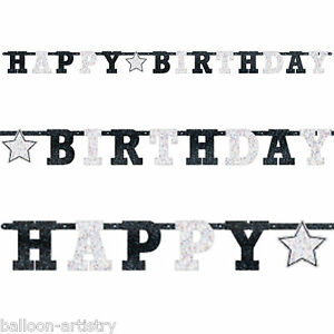 2-4m-Classic-Black-amp-White-Birthday-Party-Prismatic-Letter-Banner-Decoration