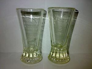 2-Alte-Glaeser-Pressglas-MORGADO-Schwere-Ausfuehrung-Art-Deco-Portugal