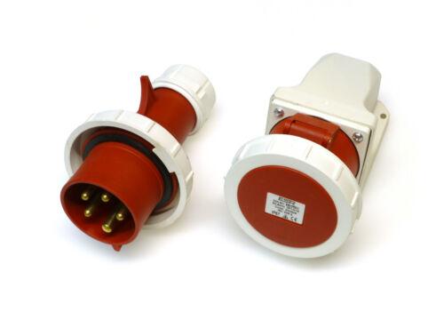 32 Amp 5 Pin impermeable IP67 Plug & superficie zócalo 380 - 415V 32A 3P+N+E Rojo