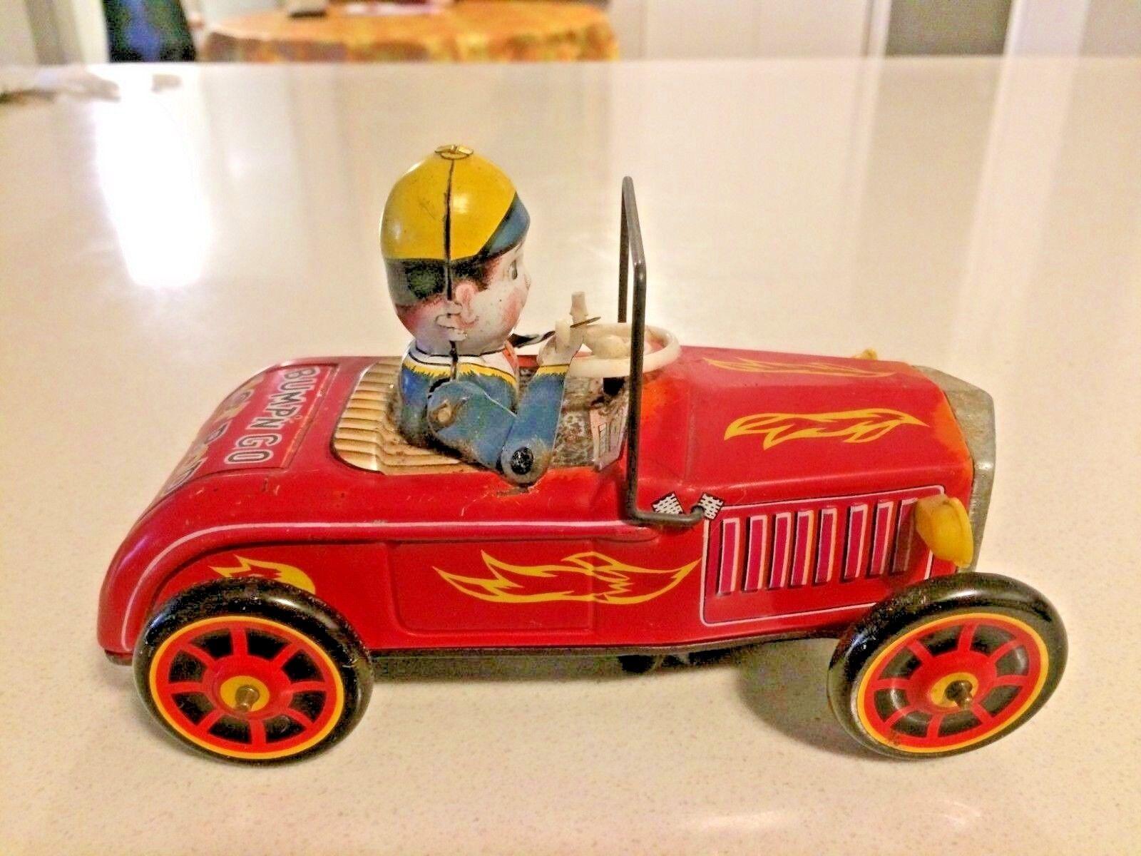 Jahr ANTIQUE KO BUMP'N GO heiß ROD Tin Spielzeug. Made In Japan. Rare
