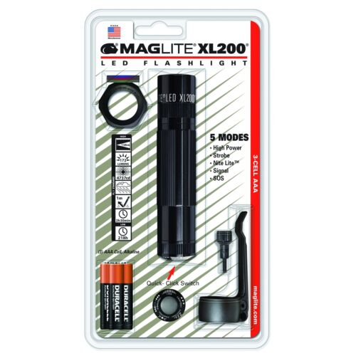Black Maglite XL200-S301C LED 3-Cell AAA Flashlight Tactical Pack