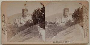 Germania Château Da Lahneck Reno Foto Stereo Vintage Albumina 1894