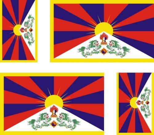 4 x flag decals sticker bike scooter car vinyl helmet motorcycle tibet tibetan