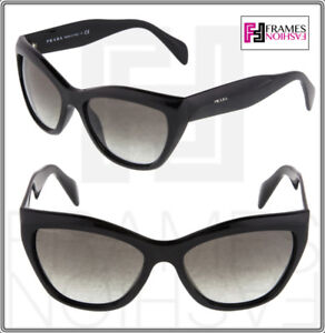 c1acd135a378e PRADA Poeme Cat Eye PR02QS Shiny Black Gradient Sunglasses 1AB-0A7 ...