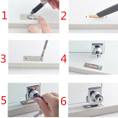Showcase Display Cabinet Glass Single Double Door Lock Replacement 2 Keys AL