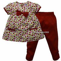 Baby Girls Outfit 2 Pieces Set Shirt & Legging Clothes Size 3 6 9 Months