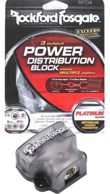 ROCKFORD FOSGATE RFD4 0//1//4-Gauge Ga AWG Car Audio Distribution Block 1-In 3-Out