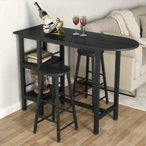 Details about Tribesigns 3 Piece Pub Table Set w/2 Stools/ Storage Shelves  Counter Height Bar