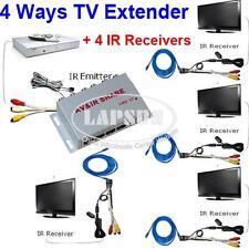 Wired AV Transmitter Sender 4 Receiver IR Infrared Repeater Emitter Extender AU