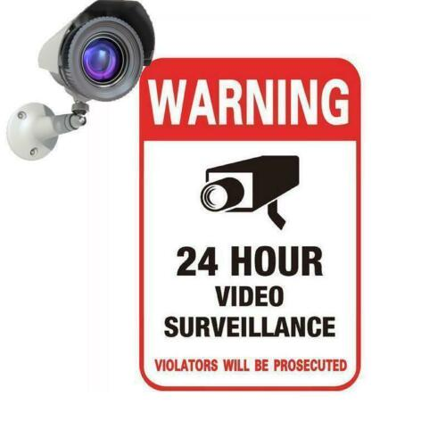 3PCS Video Camera System Warning Sign 24H CCTV Conspicuous Wall Sticker Decal