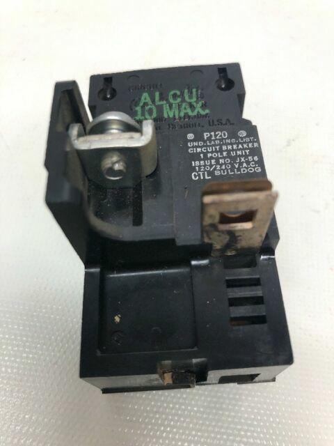 120V Used P120 1P POLE CIRCUIT BREAKER PUSHMATIC ITE BULLDOG 20A AMP