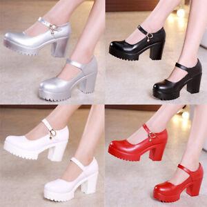 Women-039-s-Ankle-Straps-Buckle-Sandals-Block-High-Heels-Pumps-Round-Toe-Court-Shoes