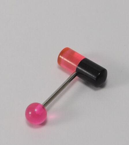 16mm -INKGRAFIX® TABLETTE PIERCING ZUNGE STAHL 316l SCHWARZ,. ORANGE