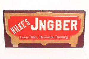 Pappschild-Werbung-Hilke-s-Brennerei-Jingber-Harburg-erhabener-Druck-Pappe