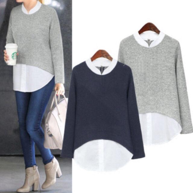 UK STOCK Oversized Womens Long Sleeve T-Shirt Jumper Pullover Tops Blouse 12-22