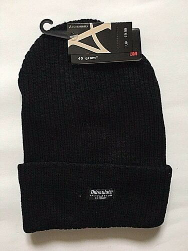 MENS PLAIN THINSULATE BEANIE HAT THERMAL TURN /_UP HAT WINTER FLEECE LINED 0925c