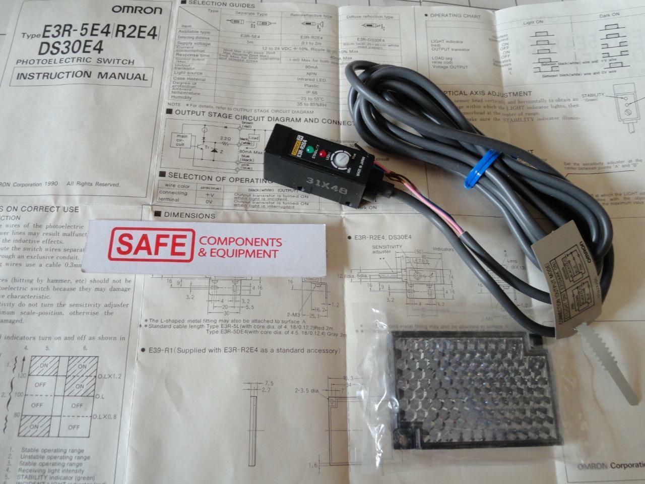 OMRON Photoelectric Sensor Switch E3R-R2E4 Retroreflective 0.1-2m 12-24VDC Q45-1