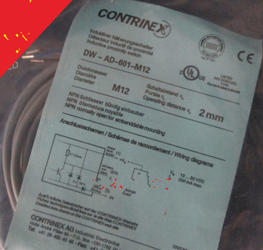 1pcs NEW CONTRINEX Proximity Switch DW-AD-601-M12